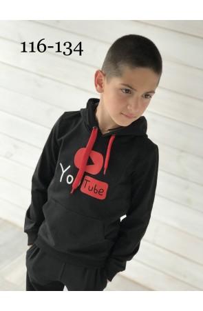 Худи для мальчиков модель 1120 цвет чёрный