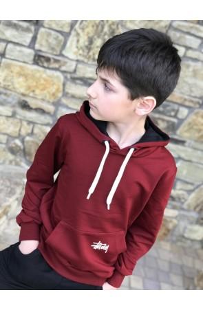 Худи для мальчиков модель 1109/3 цвет бордовый