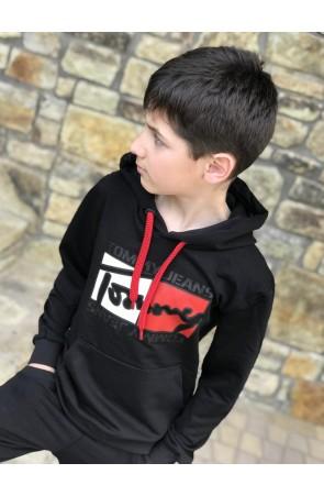 Худи для мальчиков модель 1111 цвет чёрный
