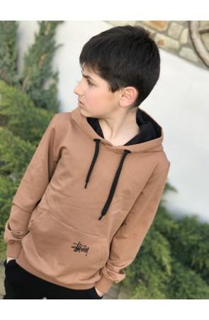 Худи для мальчиков модель 1109/2 цвет желто-коричневый