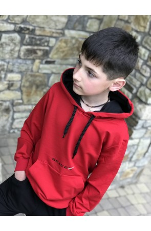 Худи для мальчиков модель 1104 цвет красный