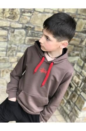 Худи для мальчиков модель 1105/3 цвет світло-коричневый