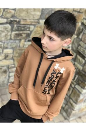 Худи для мальчиков модель 1102/3 цвет желто-коричневый